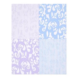 Remolinos reales del papel de lino del final azule membretes personalizados