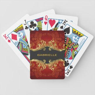 Remolinos rojos 4-Monogram del vintage de los tono Cartas De Juego