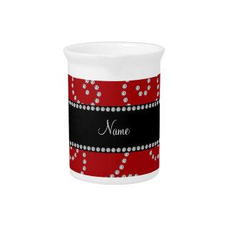 Remolinos rojos conocidos personalizados del diama jarra de beber