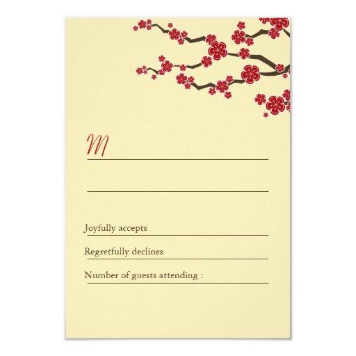 Remolinos rojos de Sakura de las flores de cerezo Invitaciones Personales