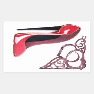 Remolinos rojos del arte y del corazón del zapato rectangular altavoces