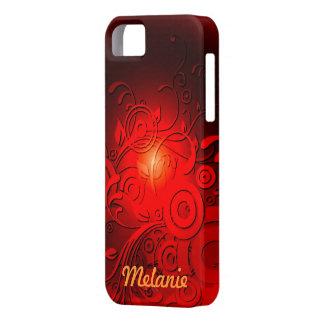 Remolinos rojos del negro iPhone 5 carcasas