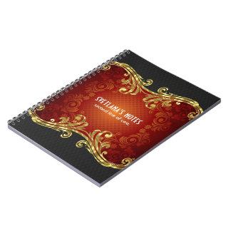 Remolinos rojos del vintage de los tonos del negro note book