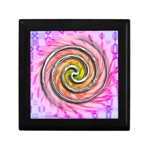 Remolinos rosados del huracán caja de joyas