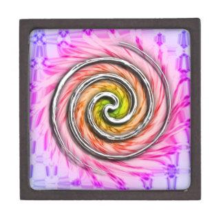 Remolinos rosados del huracán caja de recuerdo de calidad