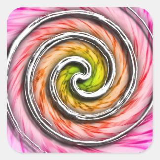 Remolinos rosados del huracán pegatina cuadrada