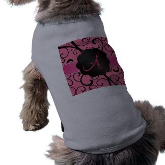 Remolinos rosados del negro del monograma ropa de perros