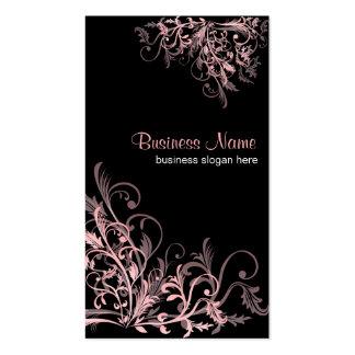 Remolinos rosados retros elegantes 2 de la flor tarjeta de visita
