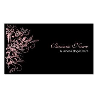 Remolinos rosados retros elegantes de la flor tarjetas de negocios