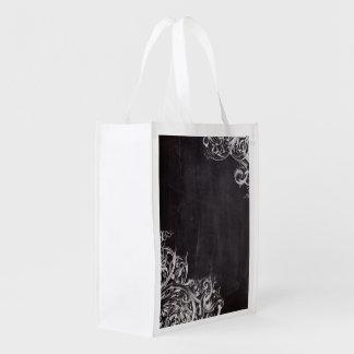 remolinos rústicos del arte elegante de la pizarra bolsas de la compra