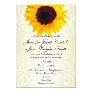 Remolinos rústicos del girasol del país que casan invitación 12,7 x 17,8 cm