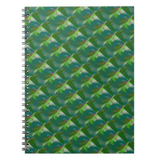 Remolinos sabios del torbellino del verde verde ol libro de apuntes con espiral