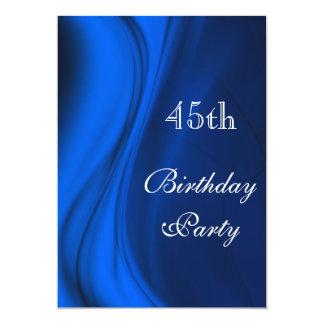 """Remolinos suaves del 45.o cumpleaños del azul invitación 5"""" x 7"""""""