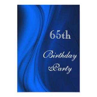 """Remolinos suaves del 65.o cumpleaños del azul invitación 5"""" x 7"""""""