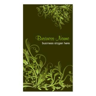 Remolinos verdes retros elegantes 3 de la flor tarjetas de negocios