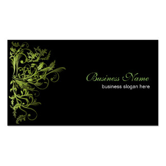 Remolinos verdes retros elegantes de la flor tarjetas de visita