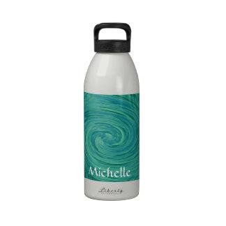 Remolinos verdes y del azul botella de agua reutilizable