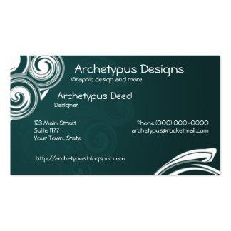 Remolinos verdes y del blanco tarjetas de visita