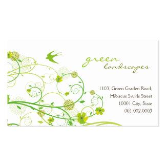 remolinos verdes y tragos 2 del hibisco del tarjetas de visita