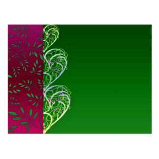Remolinos verdosos expresivos y hojas postal
