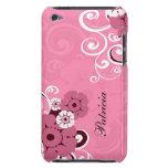 Remolinos y estampado de flores femeninos personal Case-Mate iPod touch funda