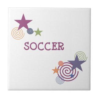 Remolinos y estrellas del fútbol azulejo cuadrado pequeño