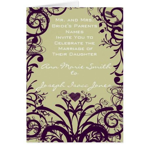 Remolinos y flores de la púrpura de la uva de tarjeta de felicitación