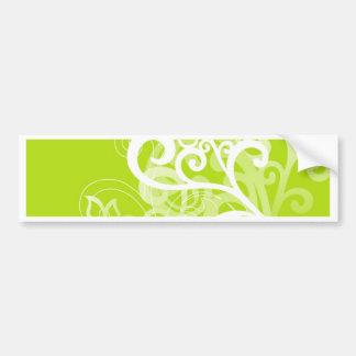 Remolinos y flores del verde pegatina para auto