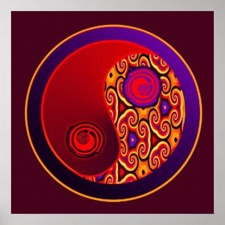 Remolinos Yin Yang del rojo y de la púrpura Póster