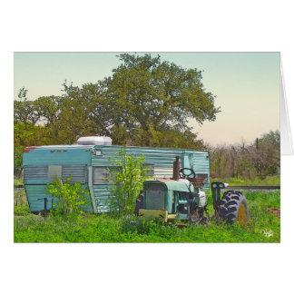 Remolque del vintage y tractor a juego en Dale, TX Tarjeta Pequeña