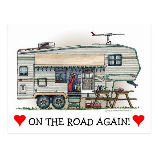 Remolque lindo del viaje del campista de la quinta tarjeta postal