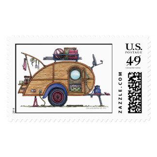 Remolque lindo del viaje del campista de la sellos