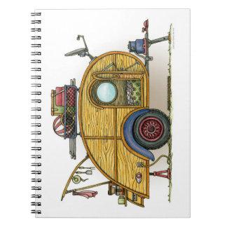 Remolque lindo del viaje del campista de la spiral notebook