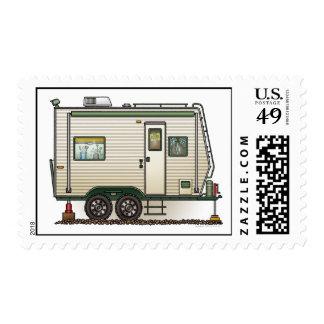 Remolque lindo del viaje del campista del timbres postales