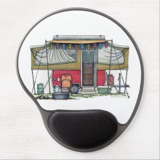 Remolque móvil del viaje del campista del vintage  alfombrilla de ratón con gel