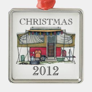 Remolque móvil del viaje del campista del vintage ornaments para arbol de navidad