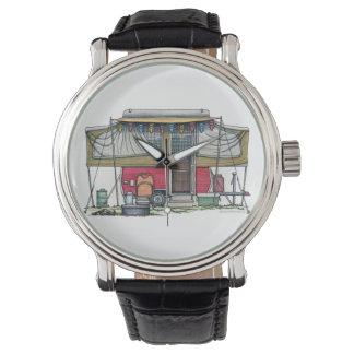 Remolque móvil del viaje del campista del vintage reloj de mano