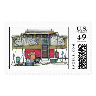Remolque móvil del viaje del campista del vintage sello postal