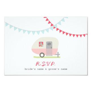 """Remolque y empavesado retros rosados que casan invitación 3.5"""" x 5"""""""