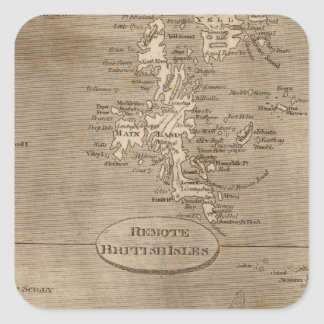 Remote British Isles Map by Arrowsmith Square Sticker