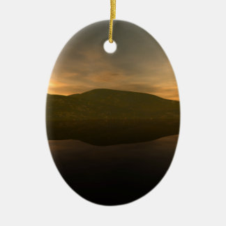 Remote Mountain Double-Sided Oval Ceramic Christmas Ornament