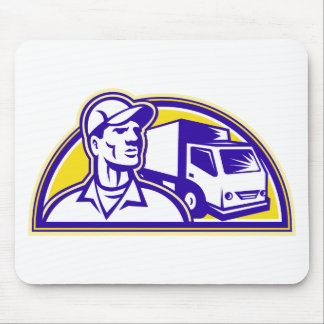 Removal Man Delivery Guy with Moving Van Mouse Pads