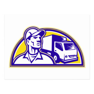 Removal Man Delivery Guy with Moving Van Postcard