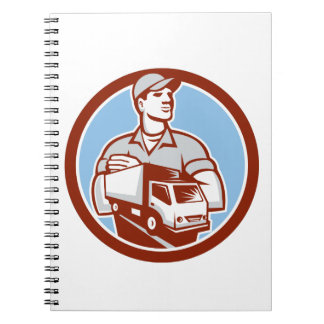 Removal Man Moving Delivery Van Circle Retro Notebooks