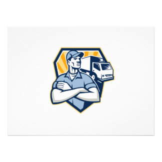Removal Man Moving Delivery Van Crest Retro Personalised Invitation