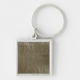 Remuneration Receipt, 17th December, 1704 Silver-Colored Square Keychain