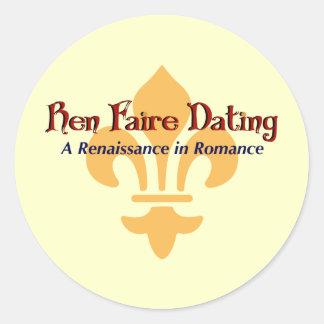 Ren Faire Dating.com Fluer De Lis Pegatina Redonda