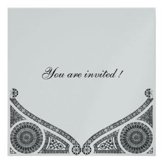 RENACIMIENTO papel metálico de la plata Invitacion Personal