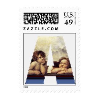 RENAISSANCE ANGEL A LETTER Winged Cherub Monogram Postage Stamp