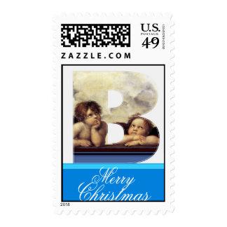 RENAISSANCE ANGEL B LETTER Winged Cherub Monogram Stamp